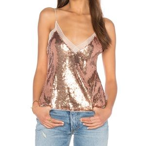 Free People rose gold sequin lace camisole size L